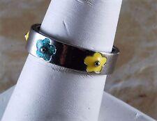 Vintage Ring Size 10 1/2 SIlver Tone Metal Glitter Enamel Flower Band Jewelry