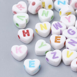 150+ White Hearts Acrylic Colorful Alphabet Beads Teens Kids Crafts 7x7mm USA