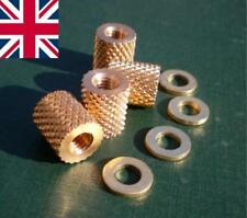 M8 Knurled Brass Thumb / Coupling Nuts & Washers Pk of 4 Precision Mc HUNSWORTH