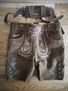Herren Trachten-Lederhose, Größe 50, kurz, hellbraun