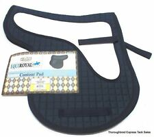 Equiroyal Navy Blue Contour Quilted English Saddle Pad w/ Shock Pad Horse Tack