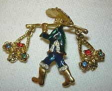 Brooch Pin Chinese Man Carrying  2 Baskets of Flowers Set With Diamantes Green