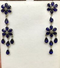 14k Solid White Gold Dangle Leverback Earrings W/Natural Sapphire Pear 5.70GM