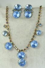 VTG OLD STORE STOCK JULIANA BLUE GLASS & RHINESTONE CLIP EARRINGS NECKLACE SET