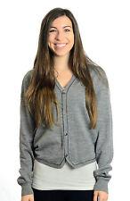 2 M NWT Converse Heather Gray Wool Knit Grandpa Button Front Cardigan Sweater