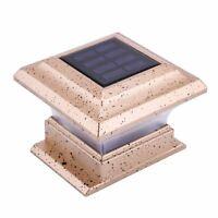 Outdoor 4 x 4 Solar LED Post Deck Cap Square Fence Light Landscape Lamp Decors