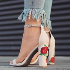 Women Flower Rose Printed Strappy High Heel Sandals Summer Shoes TS #Z