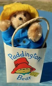 """VINTAGE  5"""" Paddington Bear in bag from 1987 byEden Toys Red Boots Navy Coat"""