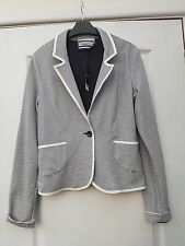 NEXT NAUTICAL WHITE NAVY BLUE STRIPE COTTON V-NECK SINGLE BUTTON BLAZER JACKET