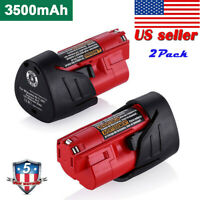 2-Pack New 3.5Ah M12 for Milwaukee 12V XC Lithium Battery 48-11-2402 48-11-2440