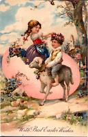 PFB Easter~CHILDREN~GIRL PLAYS IN HUGE PINK EGG~BOY RIDES LAMB~Antique Postcard
