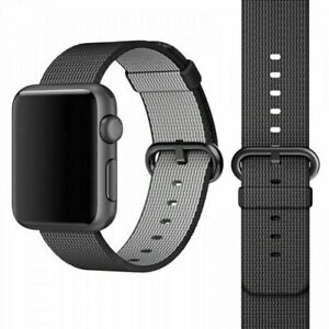 Genuine Apple Woven Nylon Watch Band 42mm/44mm Black/Space Gray - MM9Y2AM/A