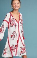NWT Anthropologie Ranna Gill Hadley Embroidered Floral White Red Dress Tunic XS
