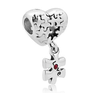 2PCS European Puzzle Red Heart Style Love Pandora Crystal Charm Bracelet Bead.