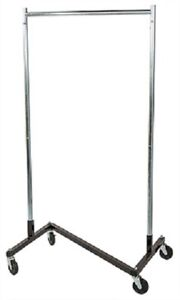 """Clothing Clothes Rack Z-Truck Rolling Locking Casters 68"""" x 36"""" Single Rail"""