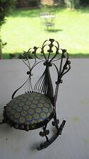 Vintage Tin Can Dollhouse Furniture Doll Rocking Chair Ornate Pin Cushion