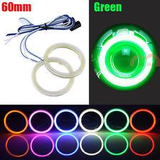 2x 60mm Green Car Headlight Angel Eyes Cob Halo Rings LED Daytime Running Lights