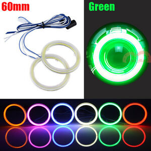 2x 60mm Green Car Headlight Angel Eyes Cob Halo Rings LED Daytime Running Lights