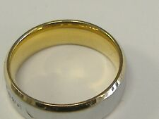 """18K / STAINLEES STEEL(?) WEDDING BAND ' FOREVER LOVE"""" SIZE 7"""