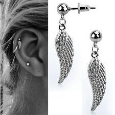 Dangling Silver Bird Wing Helix Jewelry Single Stud Cartilage Angel Wing Earring