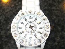 Geneva White Double Dial Rhinestone Detailed Silicone Wrist Watch  Silver Number
