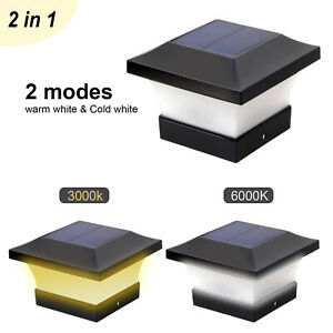 2 IN 1 Solar LED Post Deck Cap Light Outdoor Square Fence Path 2 Modes Security