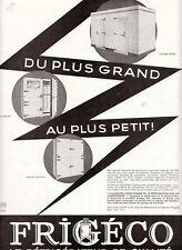 Publicité Ancienne réfrigérateur Frigéco  1933
