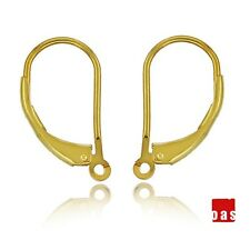 18k SOLID GOLD EARRINGS LEVERBACK HOOK 1PAIR  WITH OPEN RING FINDINGS