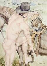 boy, homme nu, watercolor print nude male mounting horse gay interest