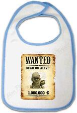 Bavoir Bébé Bleu Cadre Affiche Wanted Western personnalisé avec votre Photo