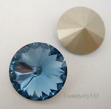 2x SWAROVSKI 1122 Denim Blue 14mm RIVOLI STONE CRYSTAL (Foiled)