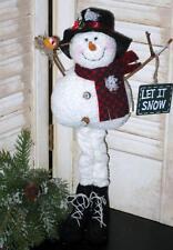 Prim LONG stick LEG SNOWMAN with LET IT SNOW sign & bird Ornie  cl