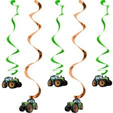 5 Tractor Time Dizzy Danglers Boys Birthday Party Decoration Supplies Swirls