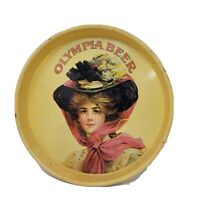 """Olympia Brewing Co. Victorian Woman 1972 Beer Serving Tin Tray 13"""""""