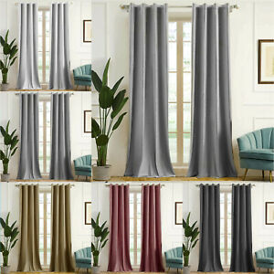 66x90 inch Blackout Velvet Curtains Eyelet Ring Top Ready Made Lined Pair