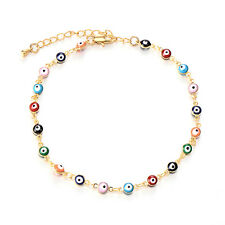 Womens Turkish Jewelry Charm Evil Eye Chain Bracelet Rainbow Enamel Vintage