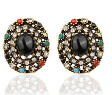 Vintage Style Antique Gold Black Colourful Rhinestones Oval Stud Earrings E1111