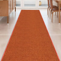 Custom Size Stair Hallway Runner Rug Non Slip Rubber Back Terracotta Orange