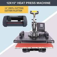 """14"""" Cutting Vinyl Cutter Plotter Paper Cut Printer + 12""""x15"""" Heat Press Machine"""