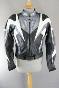 IXS BLACK, SILVER & WHITE LEATHER BIKER JACKET WITH REMOVABLE CE ARMOUR 36 INCH