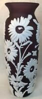 "Fenton Art Glass Cameo Carved Aubergine Cased In Milk Vase ""Sunflower"" 10 Of 40"