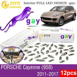 12 Bulbs Deluxe LED Interior Light Kit White For (958) 2011-2017 Porsche Cayenne