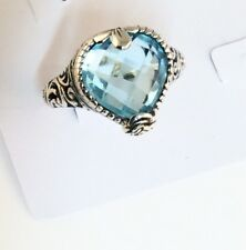 Sterling Silver Pear Shaped Cushion Cut Blue Topaz Filigree Size 7 &1/4 Ring #26