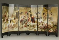 CHINESE OLD LACQUER HANDWORK PAINTING BELLES TAKE A BATHE SCREEN DECORATION