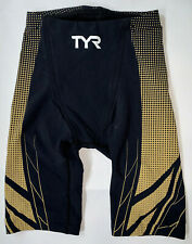 TYR Men's 28 Black Gold AP12 Compression Speed High Shorts Tri FINA USA Made New