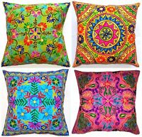 "Large Cushion Cover 24x24"" 60cm Indian MultiColor Embroidery Floor Fits Upto 26"""