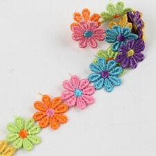 Spitze 3 Yd farbige Blumen Borte Gewebewerk Kante Kleidung Deco Handarbeit Nähen