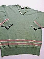 * LAMBSWOOL Sweater EDINBURGH Scotland WOOL MILL Green W/Pink  Womens M / UK 38
