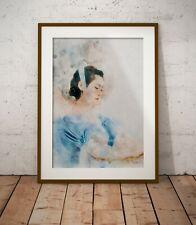 Woman in blue dress, watercolour on paper, Artwork print, Portrait wall art