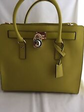 🎗NWT MICHAEL KORS Hamilton Leather Large Tote Green Apple Saffiano leather🎗